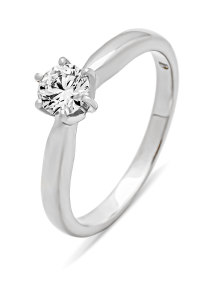 Diamond Point Hearts & Arrows Ring in 18K Weißgold