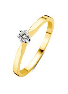 Diamond Point Geelgouden solitair ring, 0.04 ct diamant, Groeibriljant