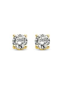 Diamond Point Geelgouden solitair oorstekers, 0.18 ct diamant, Groeibriljant