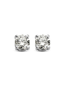 Diamond Point Witgouden solitair oorstekers, 0.18 ct diamant, Groeibriljant