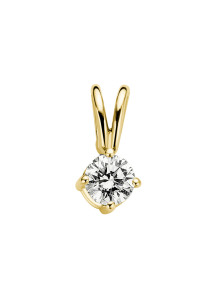 Diamond Point Geelgouden solitair hanger, 0.14 ct diamant, Groeibriljant