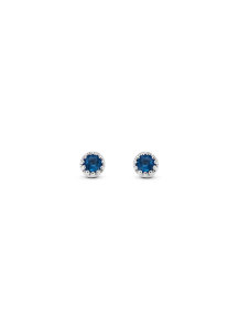 Diamond Point Witgouden oorsieraden, 0.10 ct blauwe saffier, Joy