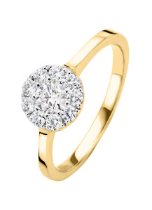 Diamond Point Gouden ring, 0.42 ct diamant, Hearts & Arrows