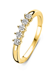 Diamond Point Geelgouden ring, 0.25 ct diamant, Hearts & Arrows