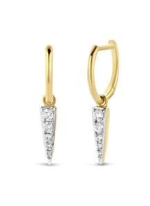 Diamond Point Geelgouden oorsieraden, 0.16 ct diamant, Cosmic