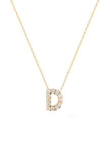 Diamond Point Geelgouden collier, 0.02 ct diamant, Alphabet
