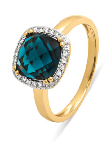Diamond Point Geelgouden ring, 2.86 ct london topaas, Fiësta