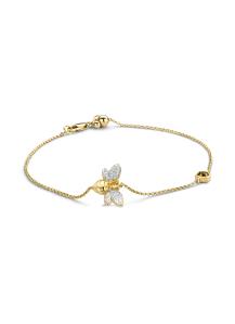 Diamond Point Geelgouden armband, 0.10 ct rookkwarts, Queen Bee