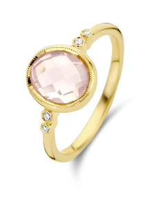 Diamond Point Geelgouden ring, 1.78 ct roze kwarts, Philosophy