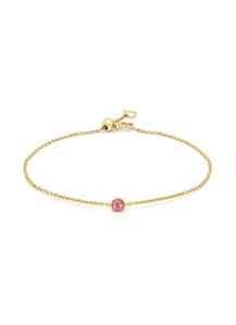 Diamond Point Geelgouden armband, 0.12 ct roze toermalijn, Joy