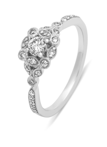 Diamond Point Witgouden ring, 0.37 ct diamant, Since 1904