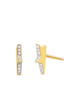 Diamond Point Geelgouden oorsieraden, 0.06 ct diamant, Cosmic