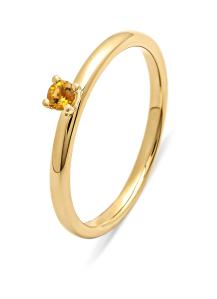 Diamond Point Geelgouden ring, 0.10 ct citrien, Four Seasons