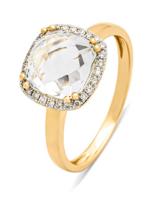 Diamond Point Geelgouden ring, 3.13 ct witte topaas, Fiësta