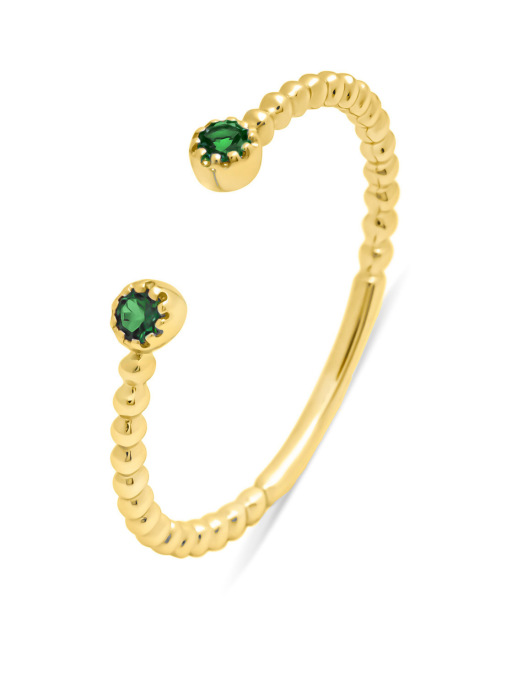 Diamond Point Geelgouden ring, 0.08 ct smaragd, Joy