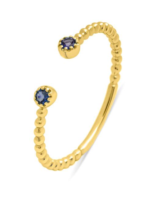 Diamond Point Geelgouden ring, 0.10 ct blauwe saffier, Joy