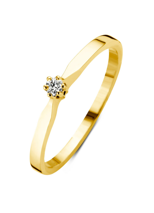 Diamond Point Groeibriljant stud ring in 18 karat yellow gold, 0.03 ct.