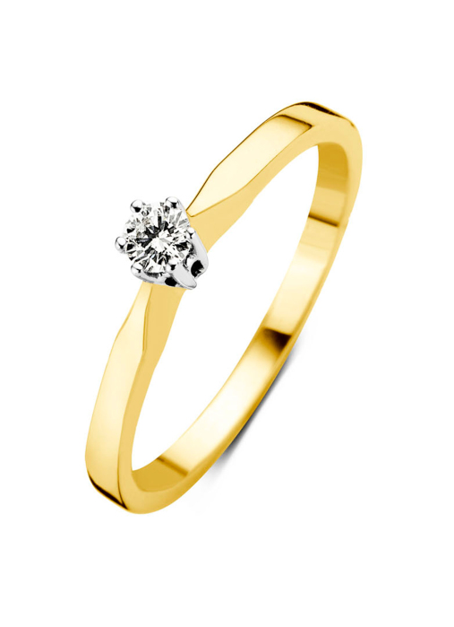 Diamond Point Groeibriljant stud ring in 18 karat yellow gold, 0.12 ct.