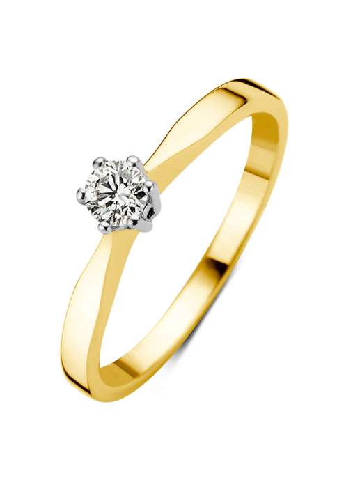 Diamond Point Groeibriljant Solitär Ring in 18K Gelbgold, 0.14 ct.
