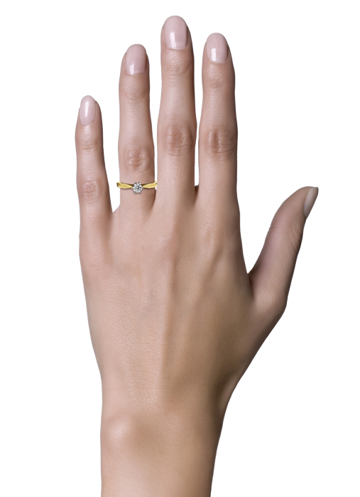 Diamond Point Groeibriljant stud ring in 18 karat yellow gold, 0.33 ct.