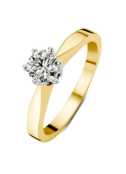 Diamond Point Groeibriljant stud ring in 18 karat yellow gold, 0.42 ct.