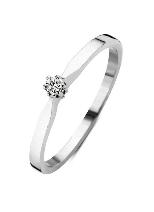 Diamond Point Groeibriljant stud ring in 18 karat white gold, 0.03 ct.