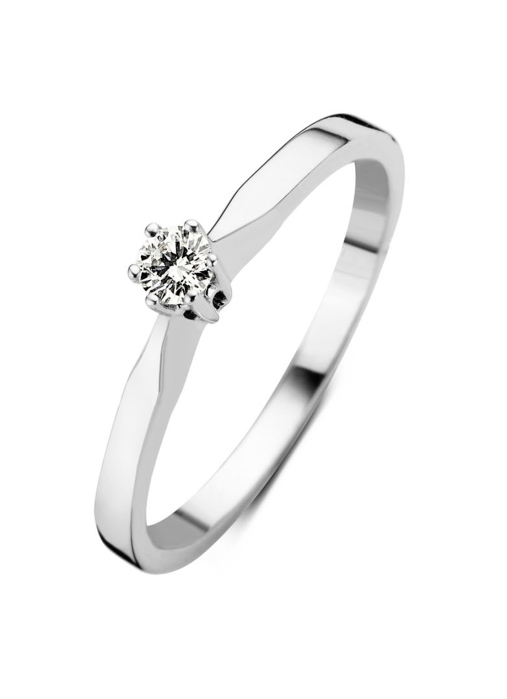 Diamond Point Groeibriljant stud ring in 18 karat white gold, 0.10 ct.