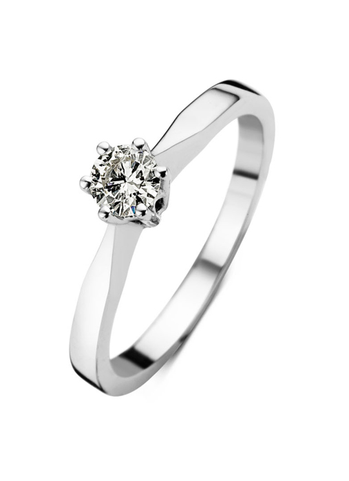 Diamond Point Groeibriljant stud ring in 18 karat white gold, 0.18 ct.