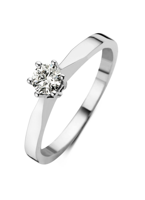 Diamond Point Groeibriljant stud ring in 18 karat white gold, 0.24 ct.