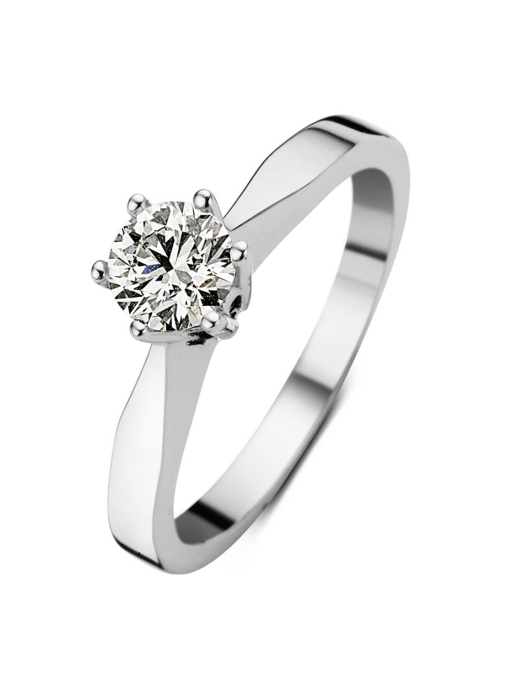 Diamond Point Groeibriljant stud ring in 18 karat white gold, 0.44 ct.