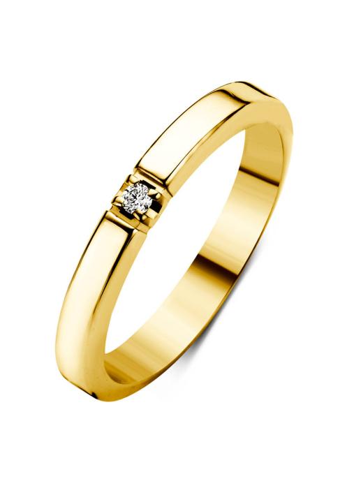 Diamond Point Groeibriljant Memoire Ring in 18K Gelbgold, 0.02 ct.