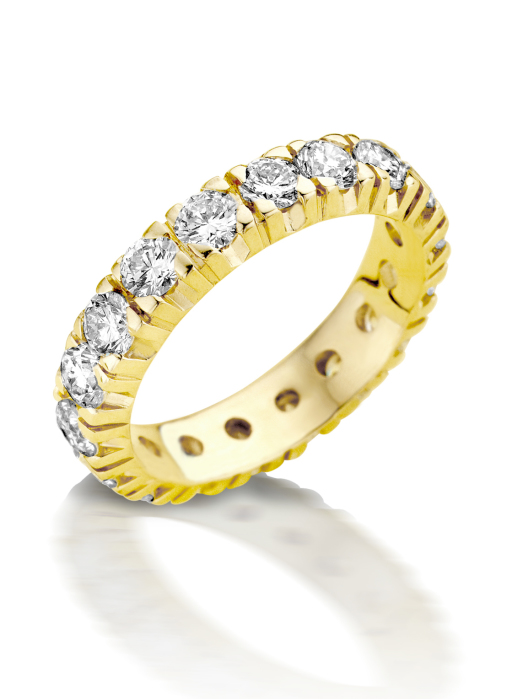 Diamond Point Groeibriljant Memoire Ring in 18K Gelbgold, 0.39 ct.