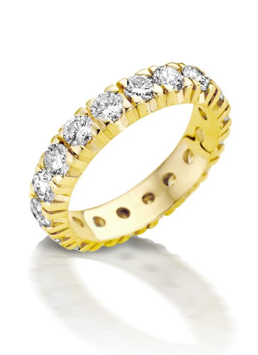 Diamond Point Groeibriljant eternity ring in 18 karat yellow gold, 0.78 ct.