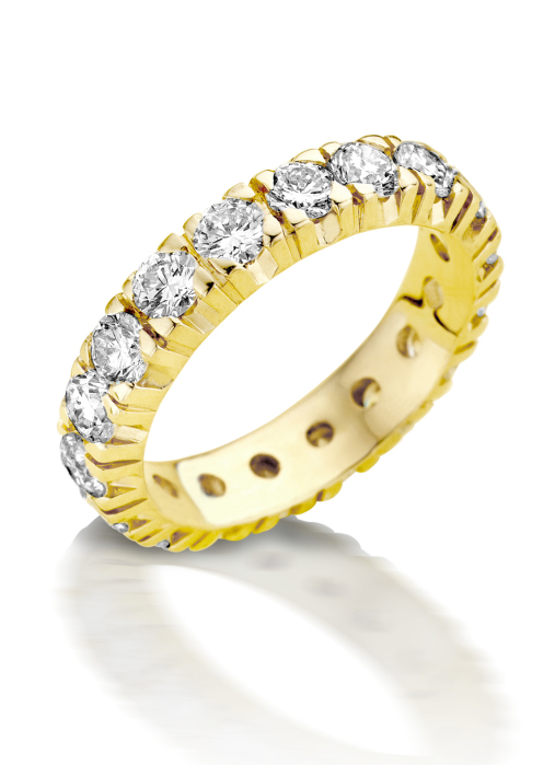 Diamond Point Groeibriljant eternity ring in 18 karat yellow gold, 0.81 ct.