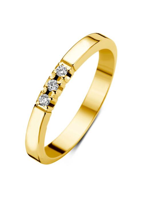 Diamond Point Groeibriljant Memoire Ring in 18K Gelbgold, 0.09 ct.