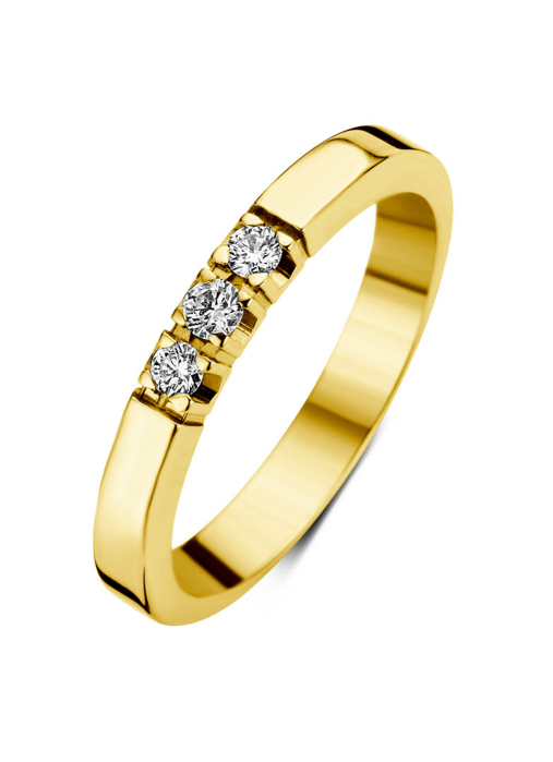 Diamond Point Groeibriljant Memoire Ring in 18K Gelbgold, 0.15 ct.