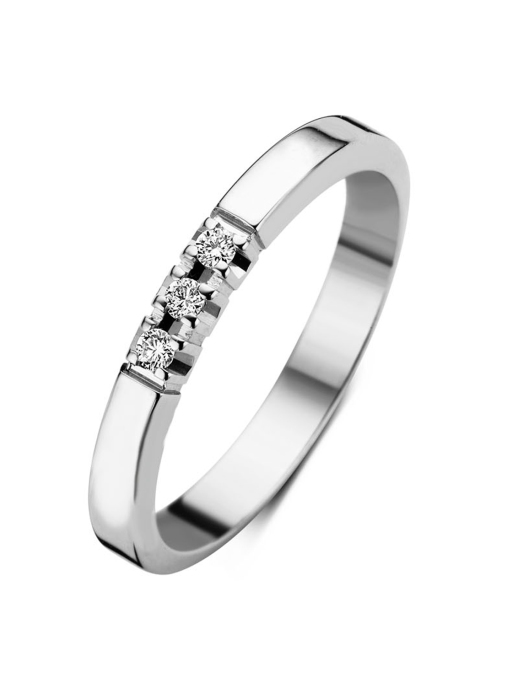 Diamond Point Witgouden alliance ring, 0.09 ct diamant, Groeibriljant