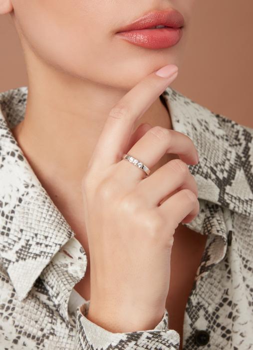 Diamond Point Groeibriljant Memoire Ring in 18K Weißgold, 0.21 ct.