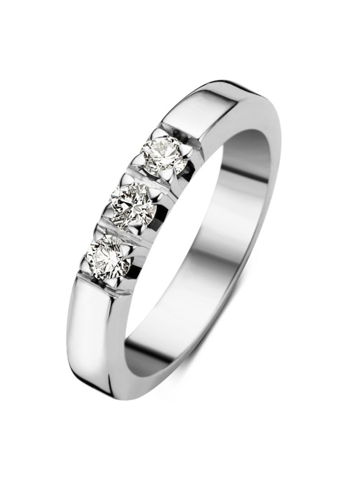 Diamond Point Witgouden alliance ring, 0.30 ct diamant, Groeibriljant