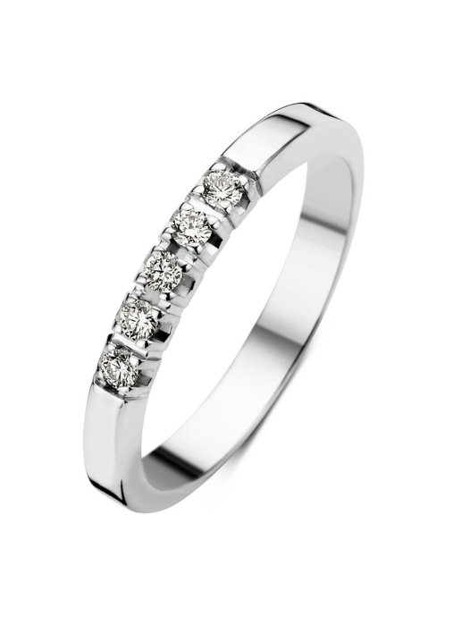 Diamond Point Witgouden alliance ring, 0.15 ct diamant, Groeibriljant