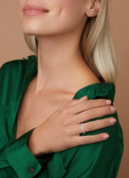 Diamond Point Groeibriljant eternity ring in 18 karat white gold, 0.27 ct.