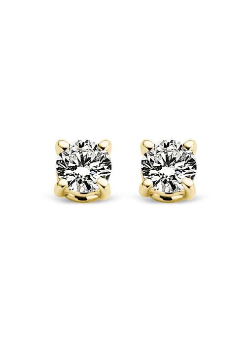 Diamond Point Geelgouden solitair oorstekers, 0.16 ct diamant, Groeibriljant