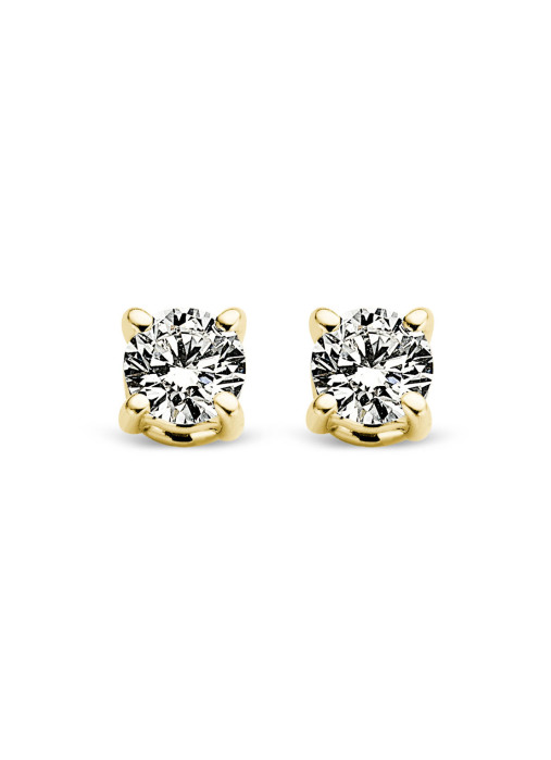 Diamond Point Groeibriljant stud earrings in 18 karat yellow gold, 0.16 ct.
