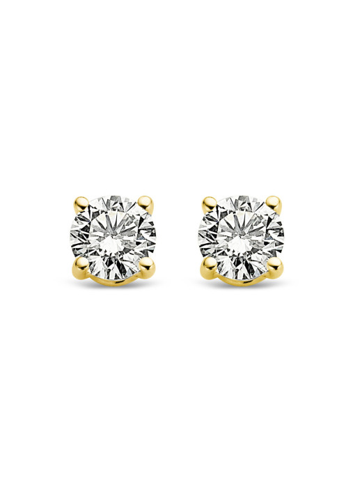 Diamond Point Groeibriljant stud earrings in 18 karat yellow gold, 0.18 ct.