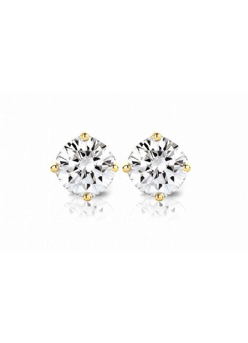 Diamond Point Geelgouden solitair oorstekers, 0.66 ct diamant, Groeibriljant