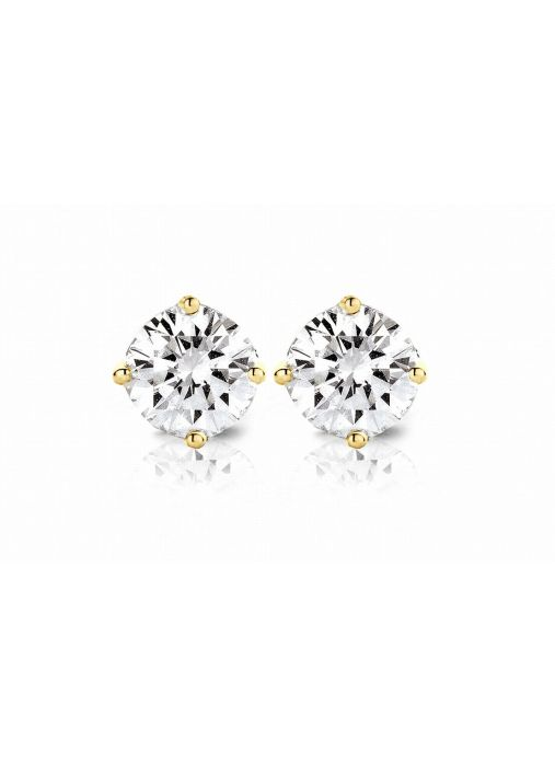 Diamond Point Groeibriljant stud earrings in 18 karat yellow gold, 0.76 ct.