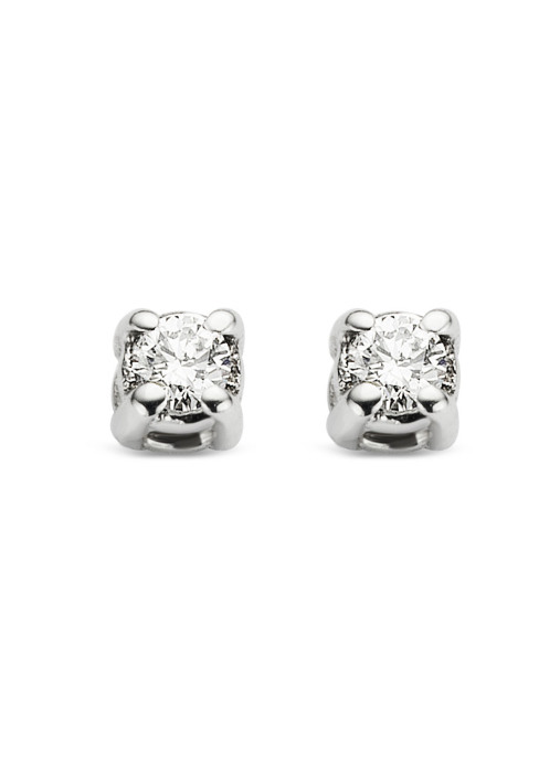 Diamond Point Groeibriljant stud earrings in 18 karat white gold, 0.04 ct.
