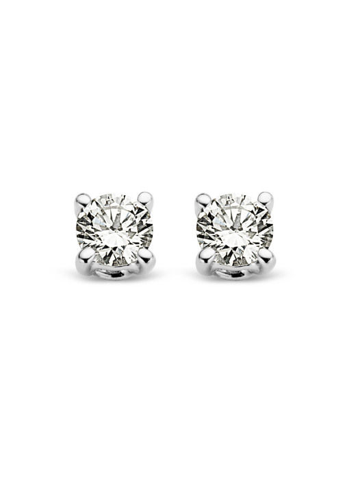 Diamond Point Groeibriljant stud earrings in 18 karat white gold, 0.06 ct.