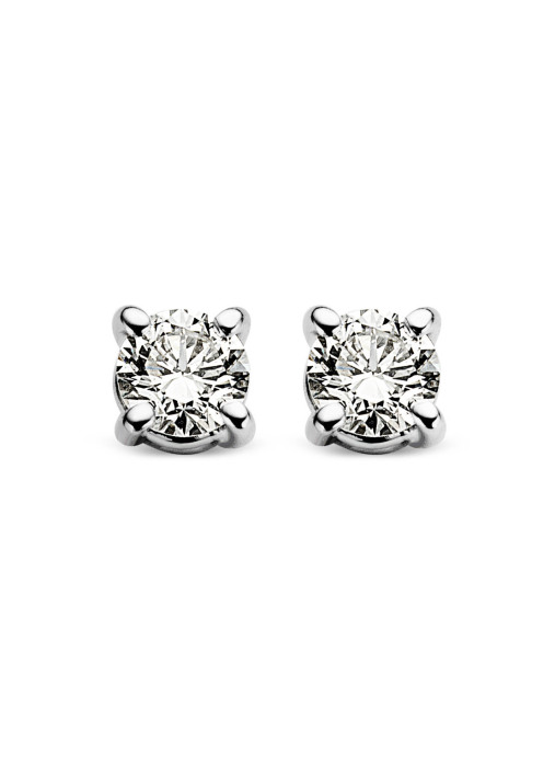Diamond Point Groeibriljant stud earrings in 18 karat white gold, 0.12 ct.