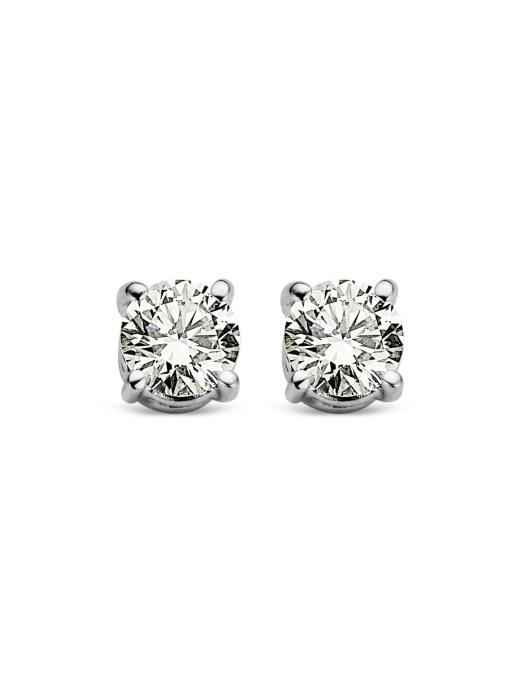 Diamond Point Groeibriljant stud earrings in 18 karat white gold, 0.18 ct.